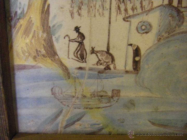 Antigüedades: Azulejo o baldosa procedente de una panel del s. XVIII Alcora, Castellón y Valencia - Foto 2 - 40907703