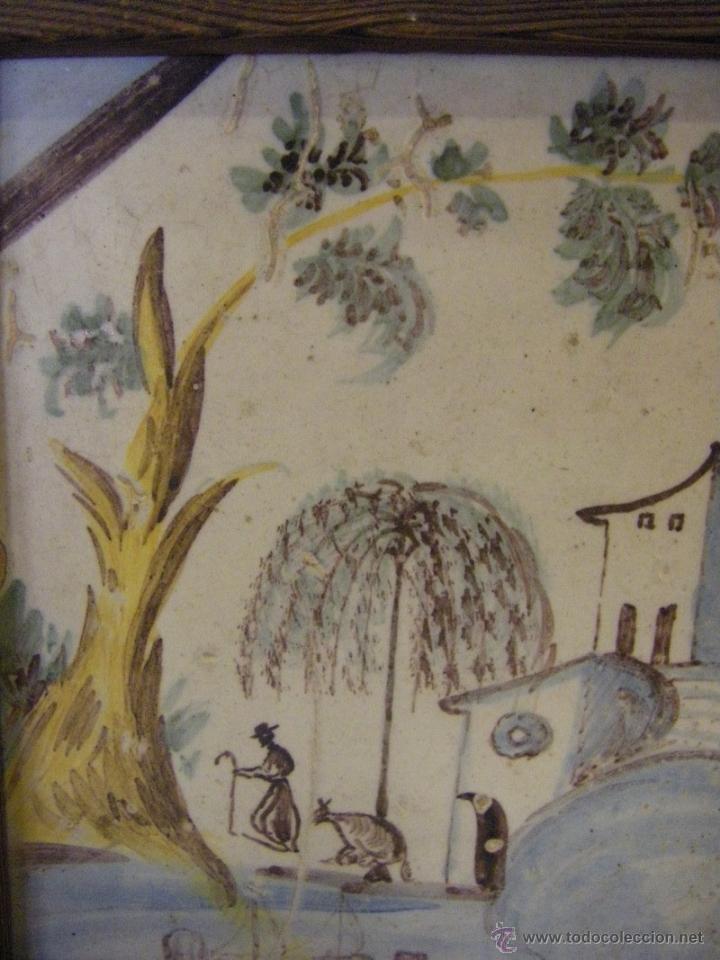 Antigüedades: Azulejo o baldosa procedente de una panel del s. XVIII Alcora, Castellón y Valencia - Foto 3 - 40907703
