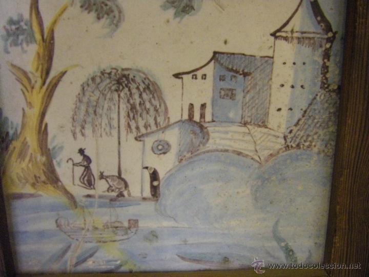 Antigüedades: Azulejo o baldosa procedente de una panel del s. XVIII Alcora, Castellón y Valencia - Foto 6 - 40907703