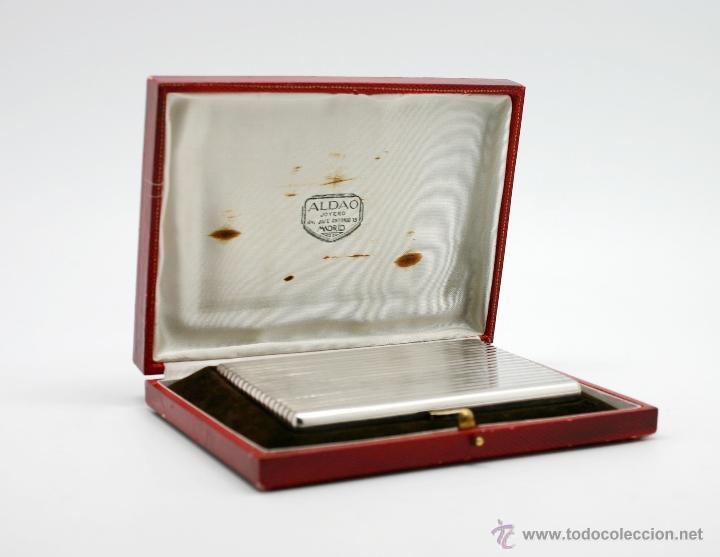 Antigüedades: Antigua pitillera de plata y Zafiros de la Joyeria Aldao de Madrid, años 50 - Foto 2 - 40918163