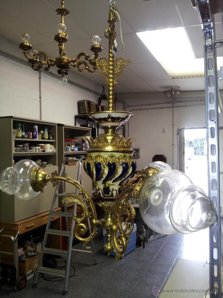 Antigüedades: ANTIGUA LAMPARA DE CERAMICA - Foto 4 - 40923643