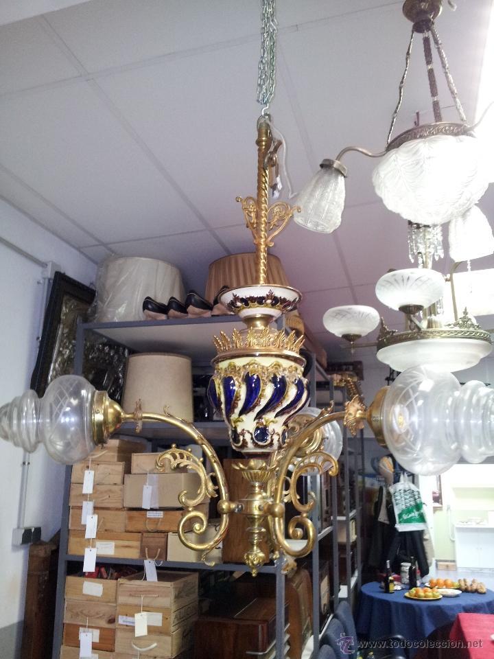 Antigüedades: ANTIGUA LAMPARA DE CERAMICA - Foto 7 - 40923643