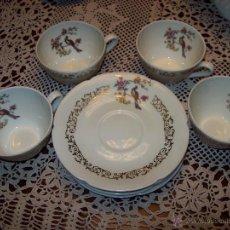 Antigüedades: 4 SERVICIOS CAFE TAZAS Y PLATO VERITABLE PORCELAINE PINTADAS DENTRO DE LA TAZA. Lote 40926850
