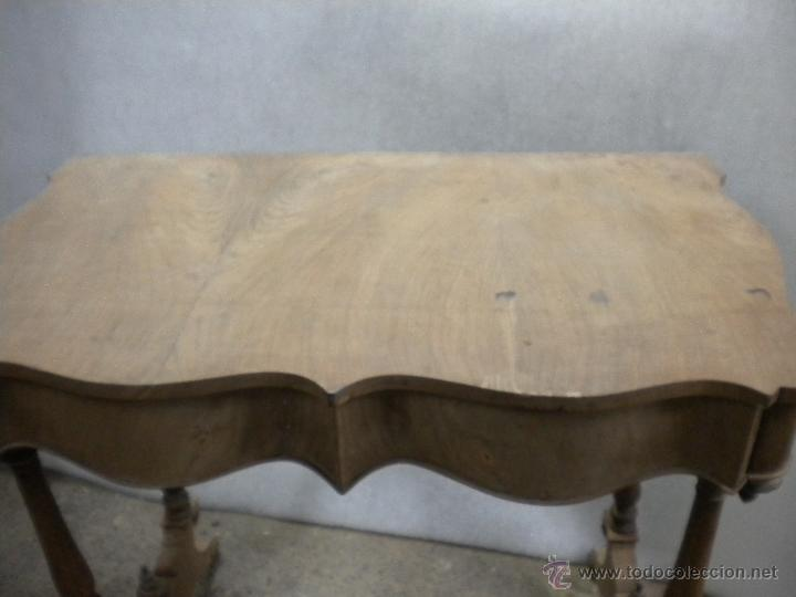 Antigüedades: consola isabelina siglo 19.madera de nogal.medida 98X56 altura 90 cm - Foto 7 - 40938287