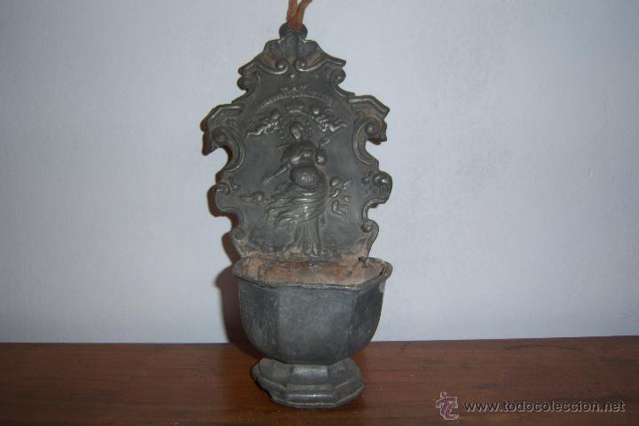 BENDITERA DE ESTAÑO SXVIII (Antigüedades - Religiosas - Benditeras)