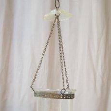 Antigüedades: LAMPARA PORTAVELAS DE COLGAR EN CRISTAL. Lote 40955877