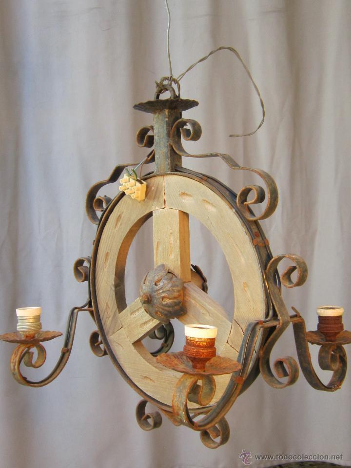 lampara de techo en madera y hierro de forja antigedades iluminacin lmparas antiguas - Lamparas De Madera