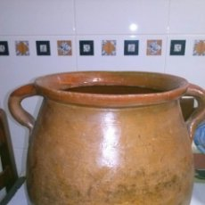 Antigüedades: ANTIGUA OLLA DE BARRO, VIDRIADA. Lote 40958616