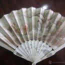 Antigüedades: ABANICO DE SEDA PINTADO A MANO CON BARILLAJE EN HUESO. Lote 40969608