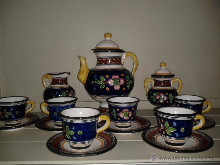JUEGO CAFE EN CERAMICA DE TALAVERA. (Antigüedades - Porcelanas y Cerámicas - Talavera)