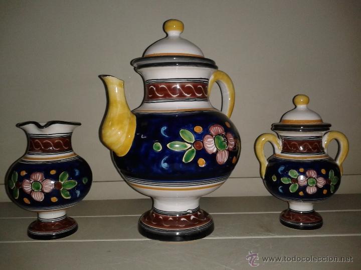 Antigüedades: JUEGO CAFE EN CERAMICA DE TALAVERA. - Foto 4 - 40974899