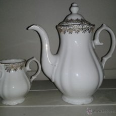Antiquités: CAFETERA Y LECHERA -- PORCELANA -- SANTA CLARA - VIGO --. Lote 75509267