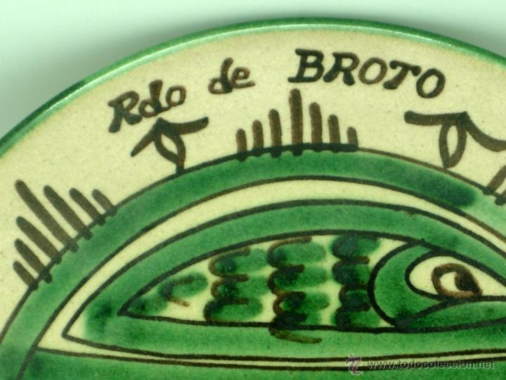 Antigüedades: Plato cerámica Teruel Recuerdo Broto Domingo Punter - Foto 2 - 41004573