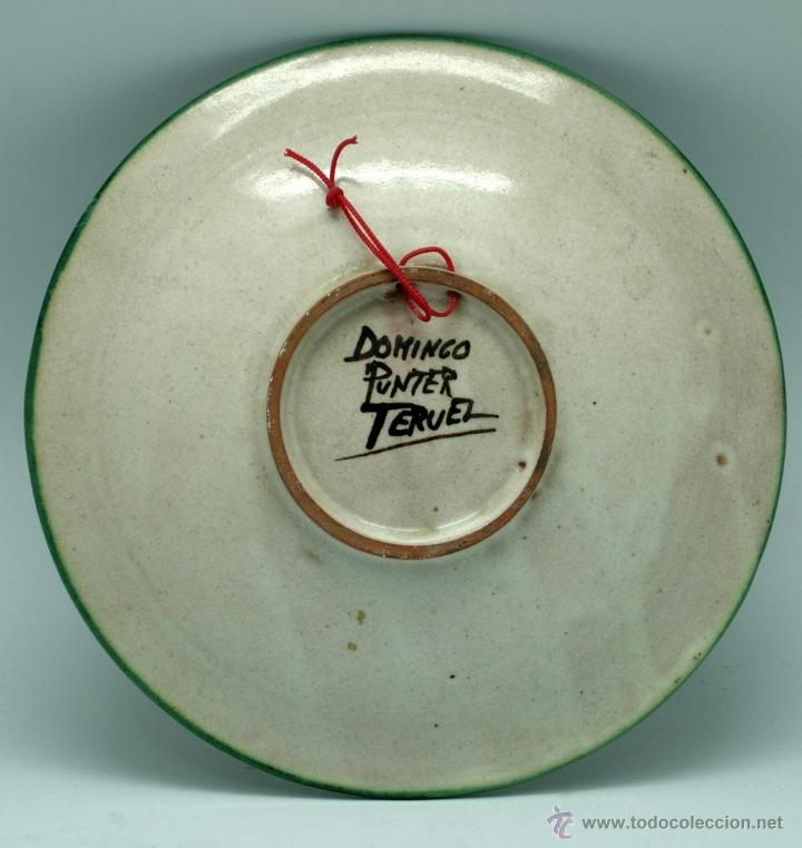 Antigüedades: Plato cerámica Teruel Recuerdo Broto Domingo Punter - Foto 3 - 41004573