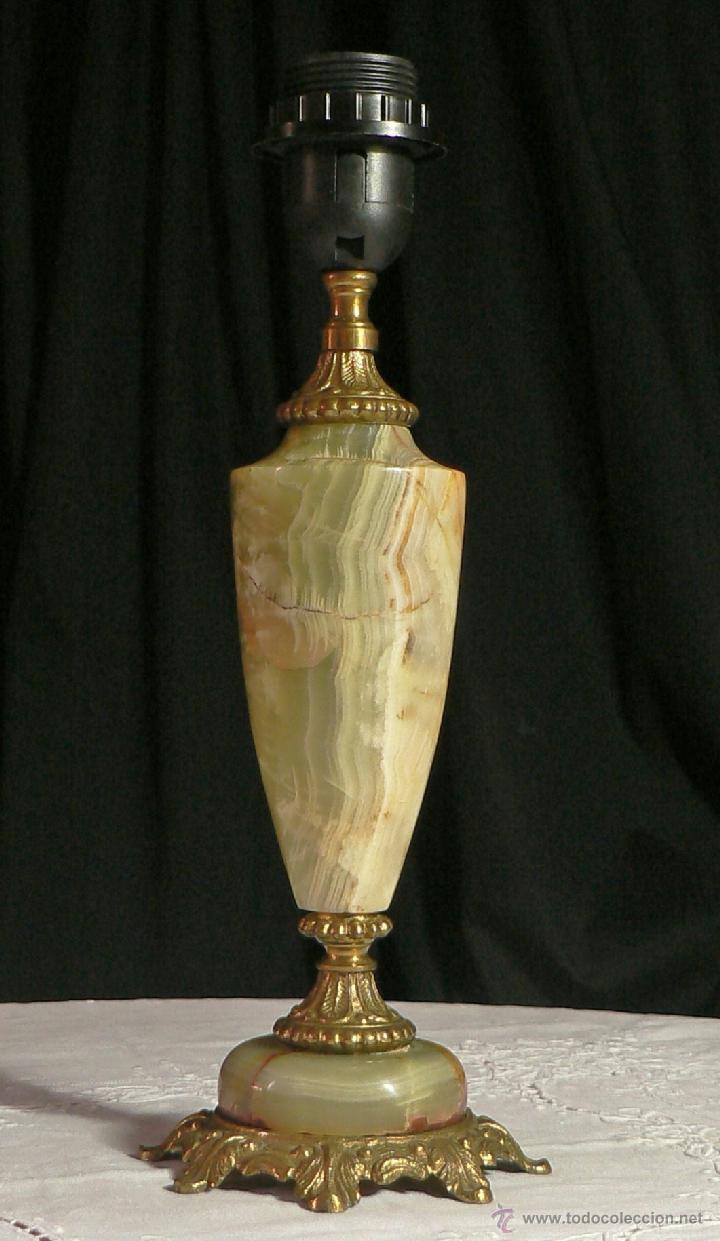 PIE DE LAMPARA ANTIGUA DE ONIX Y BRONCE (Antigüedades - Iluminación - Lámparas Antiguas)