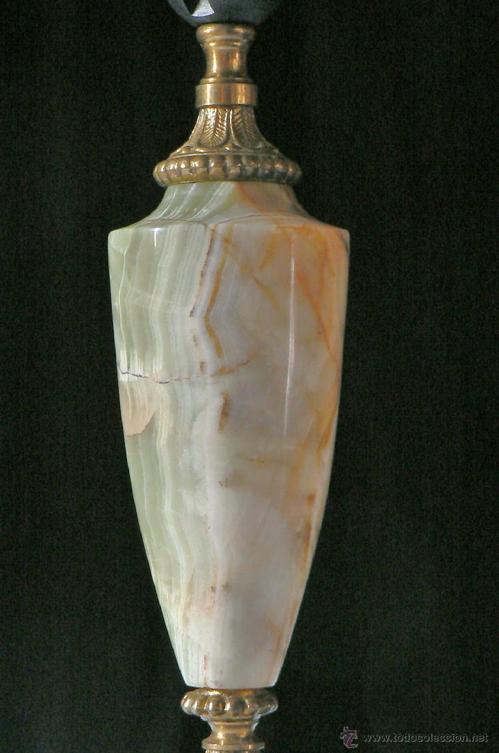 Antigüedades: PIE DE LAMPARA ANTIGUA DE ONIX Y BRONCE - Foto 3 - 41011893