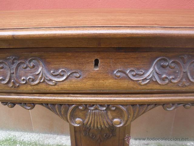 Antigüedades: ENORME CONSOLA DE COMEDOR.NOGAL. 168CM ANCHO. - Foto 4 - 41014379