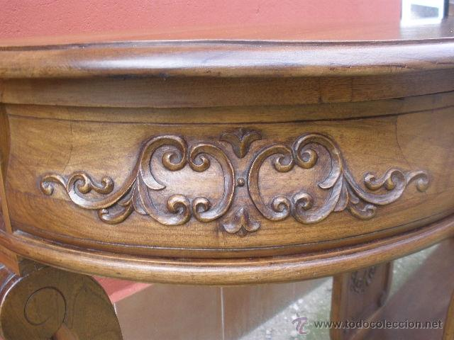 Antigüedades: ENORME CONSOLA DE COMEDOR.NOGAL. 168CM ANCHO. - Foto 10 - 41014379