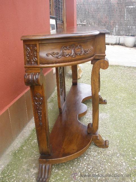 Antigüedades: ENORME CONSOLA DE COMEDOR.NOGAL. 168CM ANCHO. - Foto 11 - 41014379