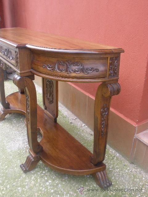 Antigüedades: ENORME CONSOLA DE COMEDOR.NOGAL. 168CM ANCHO. - Foto 14 - 41014379
