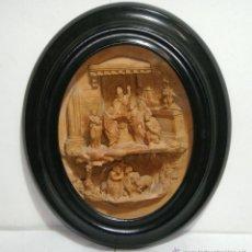 Antigüedades: BONITA ESCENA RELIGIOSA EN MINIATURA. S.XIX. TERRACOTA. MUCHA CALIDAD. SAN JUANITO. FIRMADO: ROGEAU. Lote 41028391