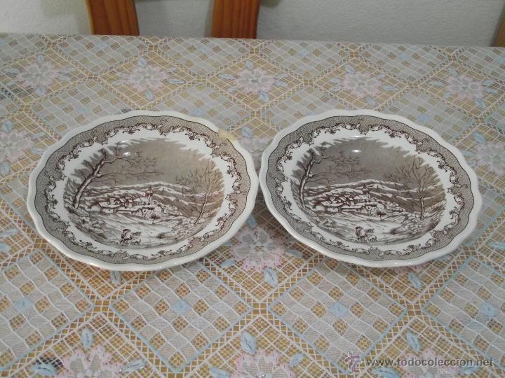 2 BONITOS PLATOS HONDOS • PORCELANA ITALIANA • SWISS LANDSCAPE (Antigüedades - Porcelanas y Cerámicas - Otras)