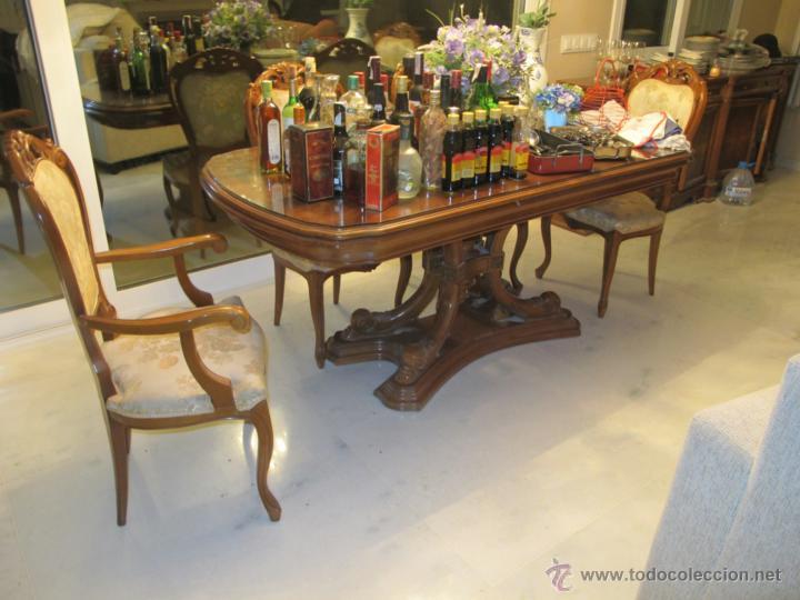 Mesa comedor raiz nogal con seis sillas misma c - Verkauft in ...