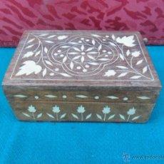 Antiquitäten - caja en madera de teka,con incrustaciones en hueso - 41053676