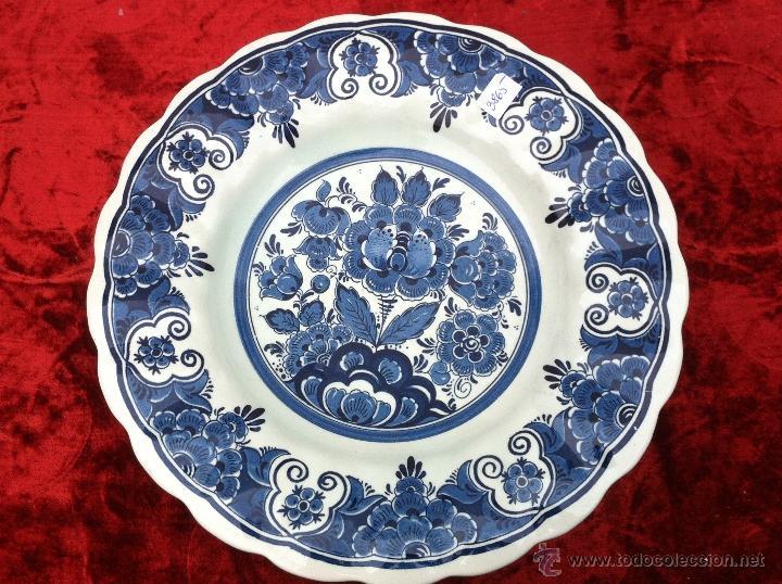 FUENTE ANTIGUO EN SEMIPORCELANA DE DELFT SELLADO (Antigüedades - Porcelana y Cerámica - Holandesa - Delft)