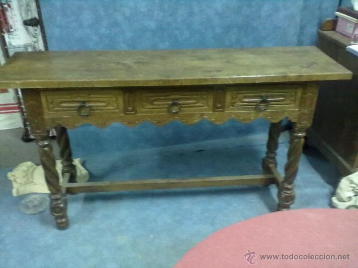 Restaurar Muebles Con Carcoma : Mesa cajones patas torneadas consola nogal para comprar