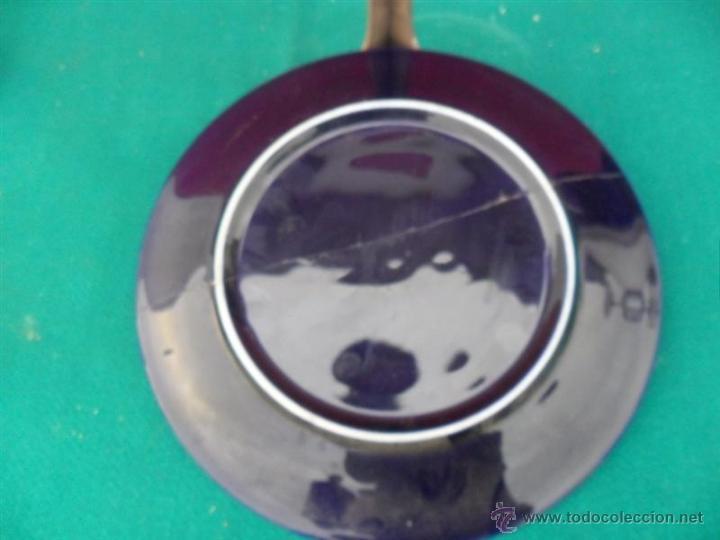 Antigüedades: plato decoracion pintado en plata de ley - Foto 2 - 41073003
