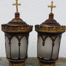 Antigüedades: PAREJA DE LUCES O FAROS ANTIGUOS DE CARRO FUNERARIO. Lote 65889383