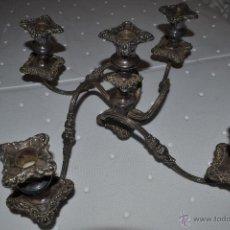 Antigüedades: ANTIGUOS CANDELABROS BAÑADOS EN PLATA. Lote 41078874