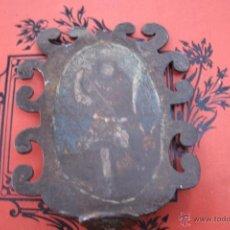 Antigüedades: ANTIGUO REMATE DE VARA PROCESIONAL ORIGINAL DEL SIGLO XVI EN HIERRO FORJADO CON IMAGEN DE LA VIRGEN. Lote 41123678