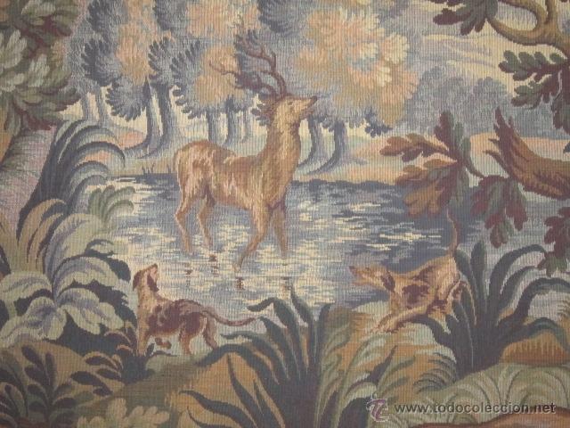 Antigüedades: Fantástico tapiz de grandes dimensiones con motivo de bosque romántico - Foto 2 - 41127961