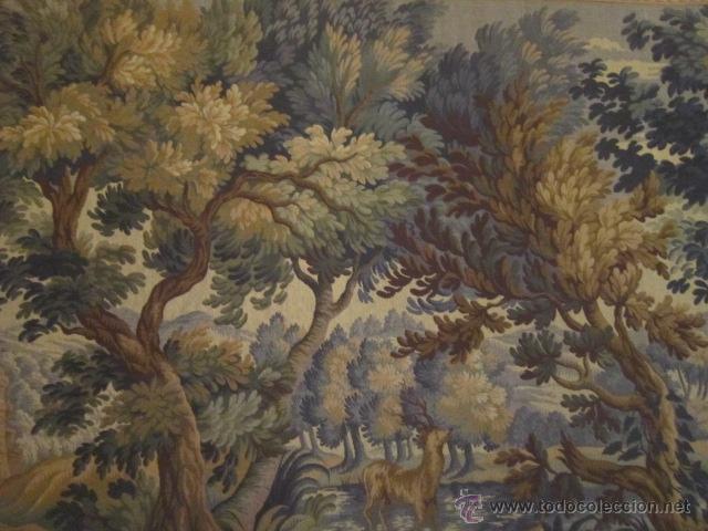 Antigüedades: Fantástico tapiz de grandes dimensiones con motivo de bosque romántico - Foto 4 - 41127961