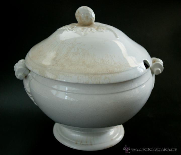 Antigüedades: GRAN SOPERA DE SAN JUAN DE AZNALFARACHE - SEVILLA - SELLOS EN LA BASE - S. XIX - Foto 2 - 41134415