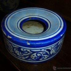 Antigüedades: ESCUPIDERA ANTIGUA, CERAMICA AZUL I BLANCA. Lote 41140381