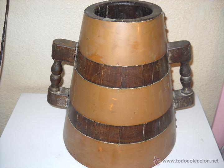 MEDIDA PARA EL GRANO EN MADERA Y COBRE (Antigüedades - Técnicas - Rústicas - Agricultura)