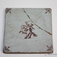 Antigüedades: AZULEJO DELFT - HOMBRE A CABALLO - PRINCIPIOS SIGLO XVIII. Lote 41159793