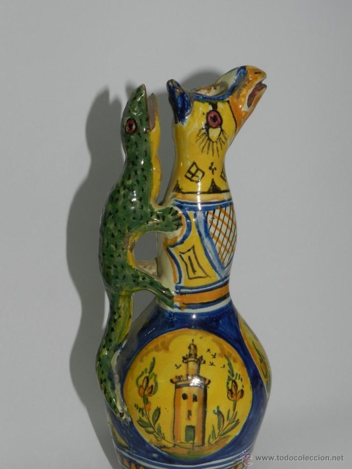 Antigüedades: ANTIGUA PAREJA DE JARRAS DE CERAMICA DE TRIANA SIGLO XIX CON ASAS DE SALAMANDRA, en muy buen estado - Foto 7 - 41203577