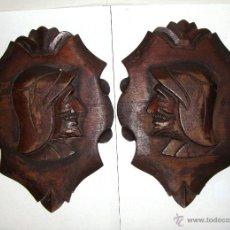 Antigüedades: PAREJA DE TALLAS DE MADERA. NEORRENACIMIENTO.. Lote 41217015