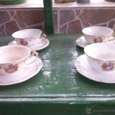Antigüedades - antiguo juego de 4 taza y 4 platos, sellados la cartuja - 41237529