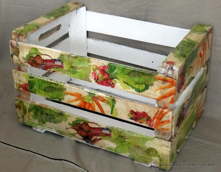 Antigua caja de frutas decorada con verduras comprar - Caja fruta decoracion ...