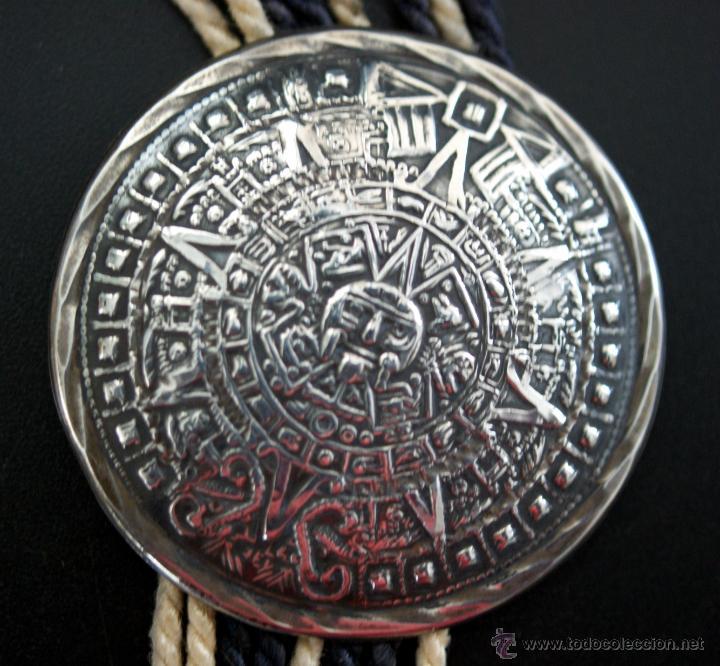 Antigüedades: ANTIGUO CIERRE - BROCHE DE CAMISA - EN PLATA DE MÉXICO - CALENDARIO AZTECA - Foto 3 - 41287865