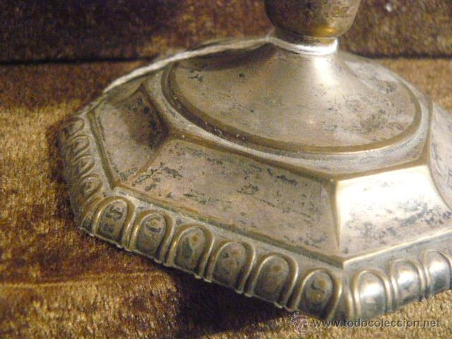 Antigüedades: PORTAVELAS PLATEADO - Foto 3 - 41292080