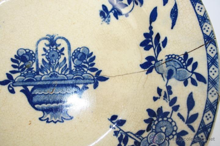 Antigüedades: PLATO SOPERO DE LOZA INGLESA (?) FINALES S. XIX, DECORACIÓN FLORAL EN AZUL COBALTO - Foto 3 - 41298029