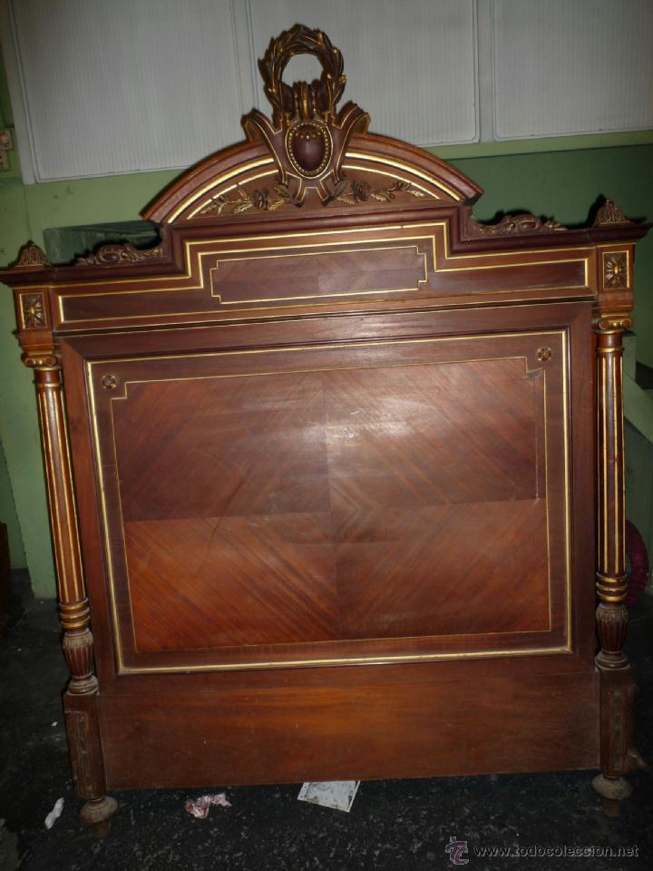 Antigüedades: Cama S. XIX, cabecero, piecero y largueros. - Foto 4 - 41302922