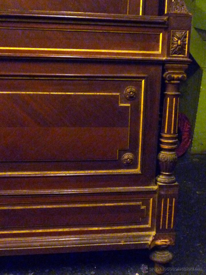 Antigüedades: Cama S. XIX, cabecero, piecero y largueros. - Foto 7 - 41302922