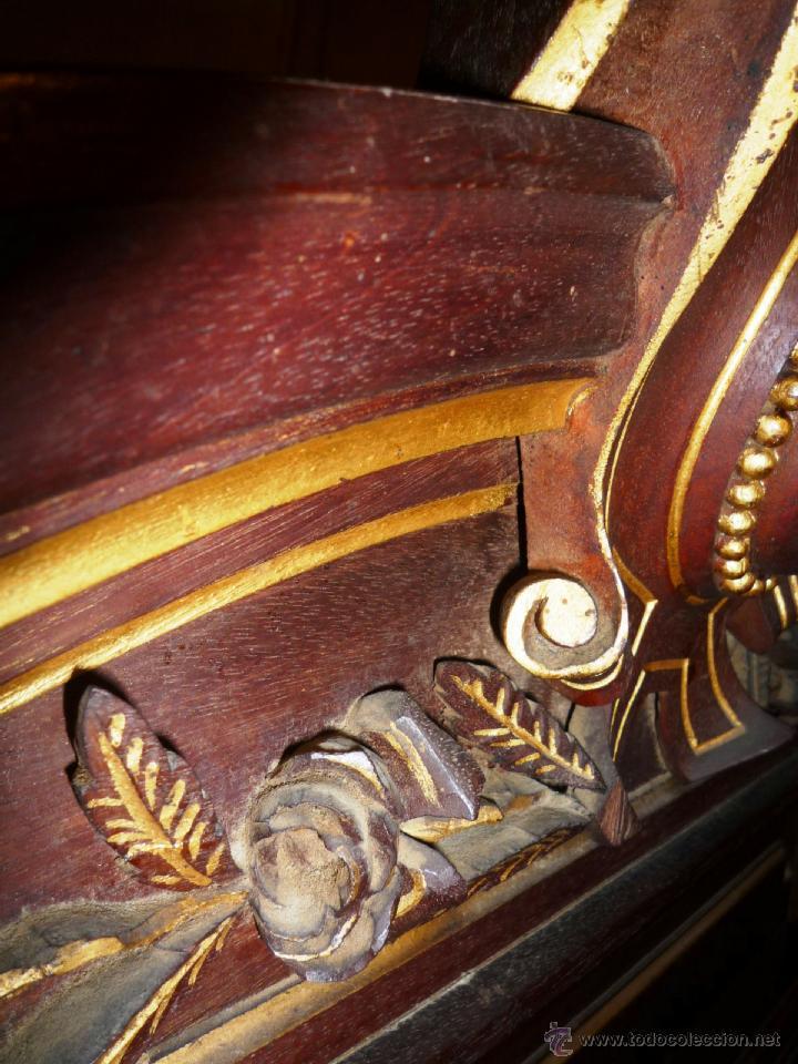 Antigüedades: Cama S. XIX, cabecero, piecero y largueros. - Foto 11 - 41302922